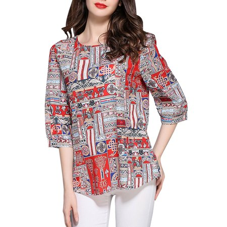 Kenancy Womens X Line Casual Top With Geometrical Print 3/4 Length Of