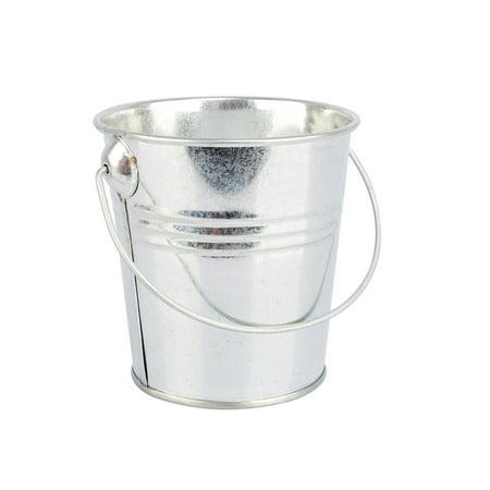 Mini Silver Buckets (Mini Decoration Iron Flowerpot Bucket Basket Planters Pot with Handle - Silver)