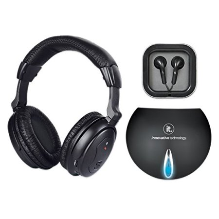 Innovative Technology Ithw 858B Wireless Headphones With Earbuds  Black