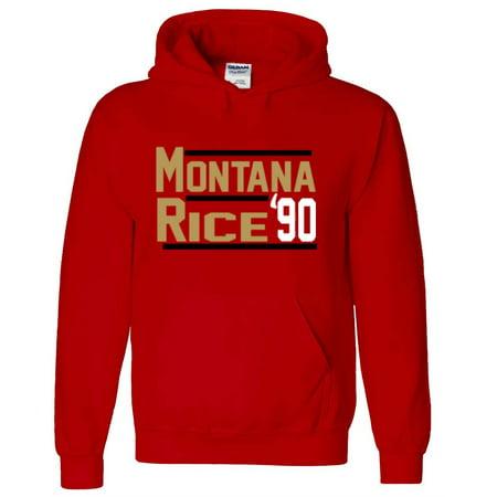 RED Joe Montana Jerry Rice 49ers 1990 Hooded - Joe Montana Red Jersey