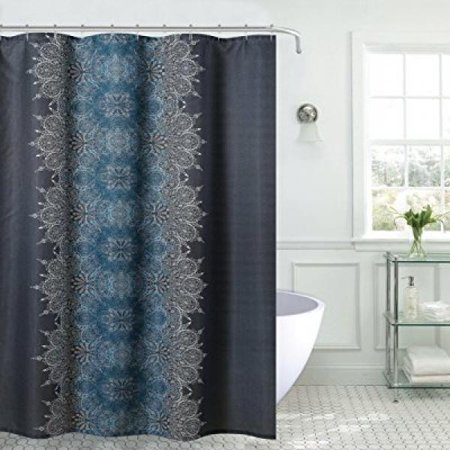 US Polo Assn USC9 05 Lacey Shower Curtain Teal Grey Charcoal