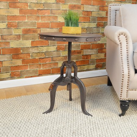 Carolina Chair and Table Eshan Industrial Grey Cast iron Adjustable Crank Accent Table