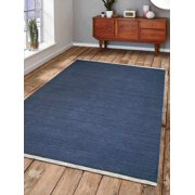 Rugsotic Carpets Hand Woven Flat Weave Kilim Wool 8'x10' Area Rug Solid Blue D00111