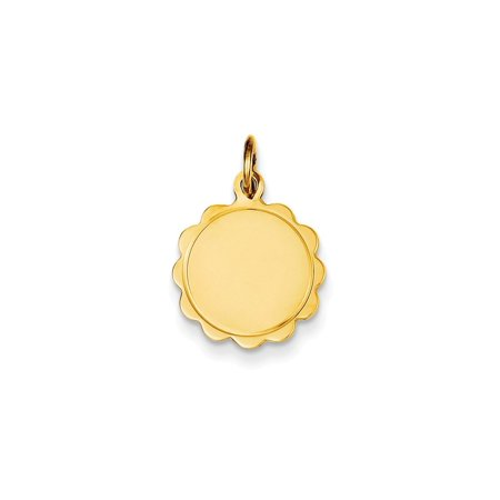 14kt Yellow Gold .013 Gauge Engravable Scalloped Disc Pendant Charm Necklace Shaped Fine Jewelry For Women Gift Set