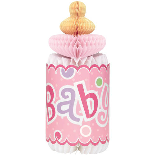 Unique Polka Dot Girl Baby Shower Centerpiece Decoration, 12 in, Pink, 1ct