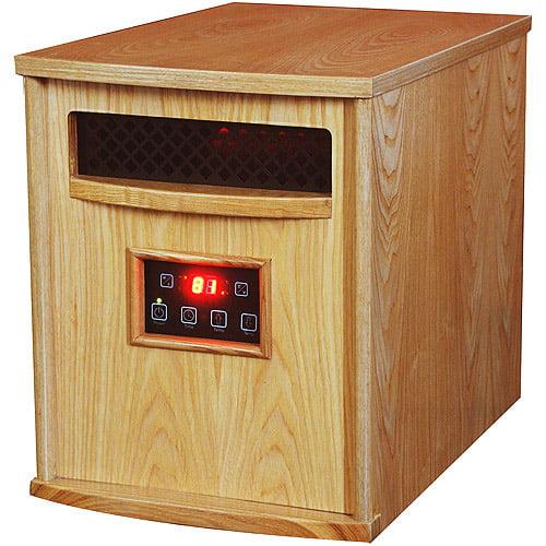 LifeSmart Power Plus Copper 1500 6-Element Infrared Quartz Heater, Natural Oak
