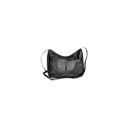 - Top Zip Hobo Style Leather Shoulder Bag w Front Open Pocket (Tan)