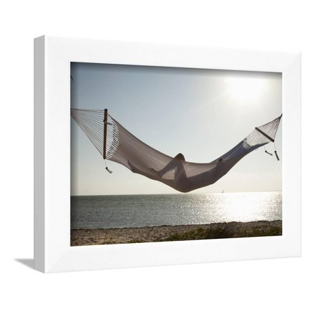 Woman in a Hammock on the Beach, Florida, United States of America, North America Framed Print Wall Art By Angelo