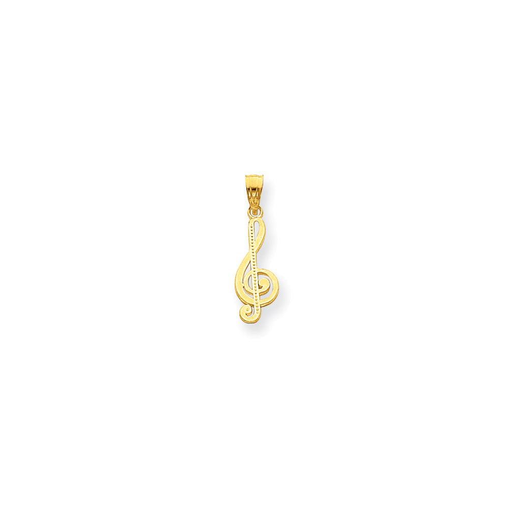 10k Yellow Gold Treble Clef Charm Pendant