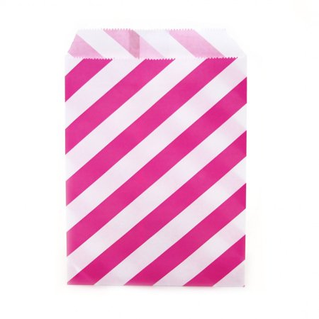 Fuchsia Pink Candy (Dress My Cupcake 24-Pack Party Favor Bags, Striped, Fuchsia Pink)