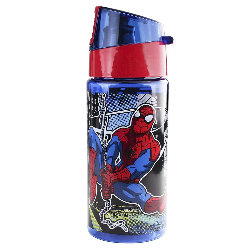 Disney Store Boys Spider-Man Wet Slinging BPA free Plastic Water Bottle, Blue/Red, 12oz