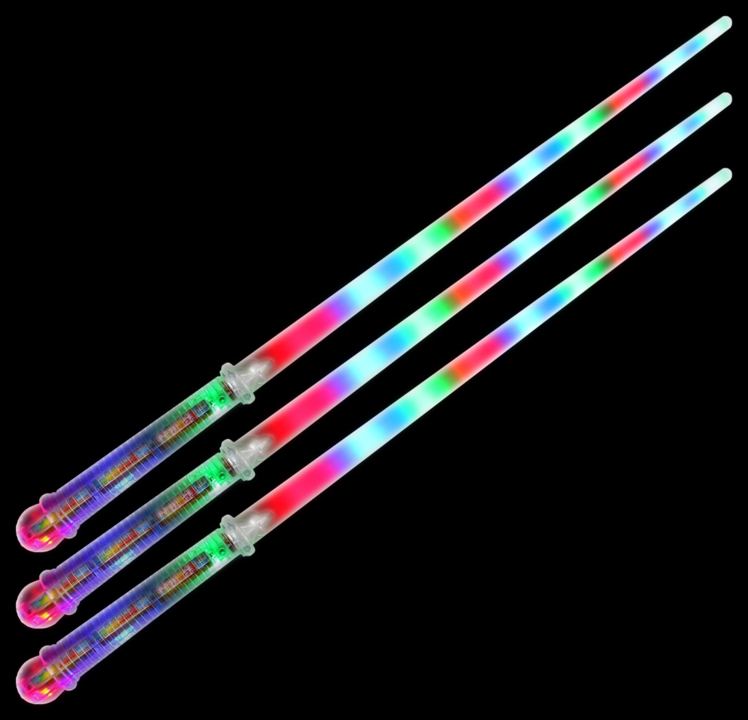 Set of 3 VT Clear Star Flashing LED Light Up Party Favor Toy Light Sword Sabers