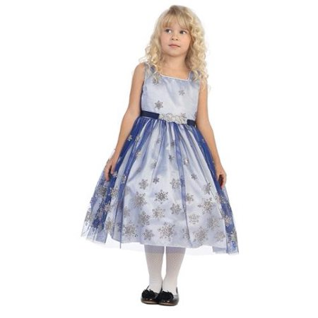Angels Garment Girls Royal Blue Brooch Snowflake Dress 7 - Blue Girls Dress