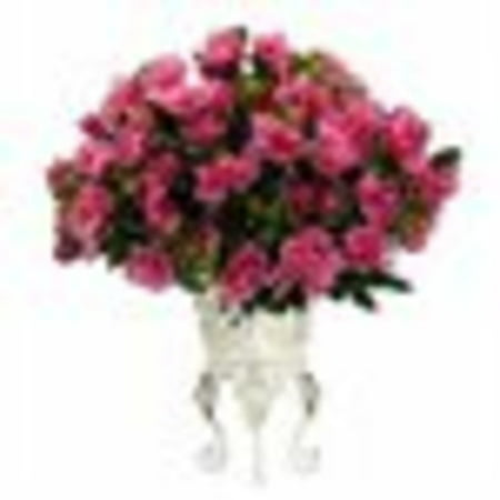 Natural Metal - Nearly Natural Azalea with Metal Planter Silk Plant