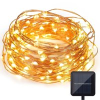 Qedertek Rope String Lights Outdoor Decoration Lights,33ft100 LED Waterproof Fairy Copper Wire Solar String Lights for Indoor Outdoor Patio,Lawn,Garden (Warm white)