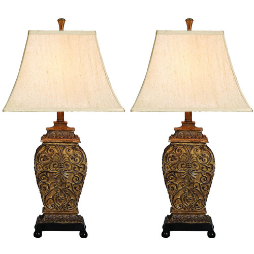 EC World Imports Urban Palace of Versailles 30'' H Table Lamp with Bell Shade (Set of 2)