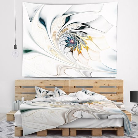 White Floral Tapestry (White Stained Glass Floral Art' Floral Wall Tapestry )