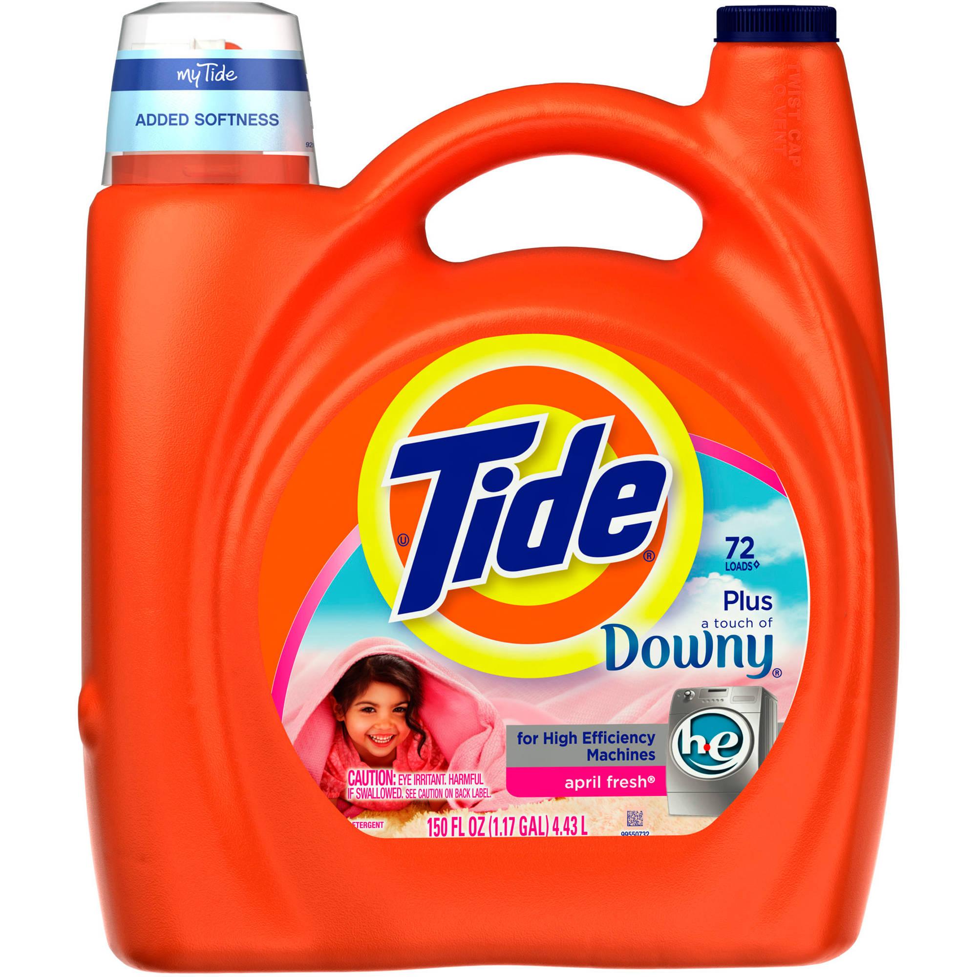 Tide Plus a Touch of Downy April Fresh Scent High Efficiency Liquid Laundry Detergent, 72 Loads 150 fl oz