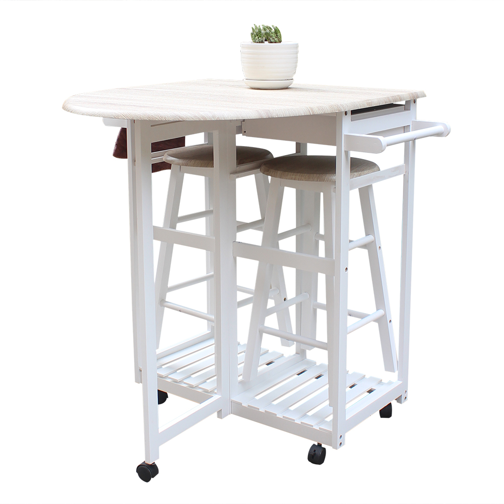 UBesGoo 3Pcs Wood Double Drawer Rolling Kitchen Cabinet Storage Cart w/ 2 Stools
