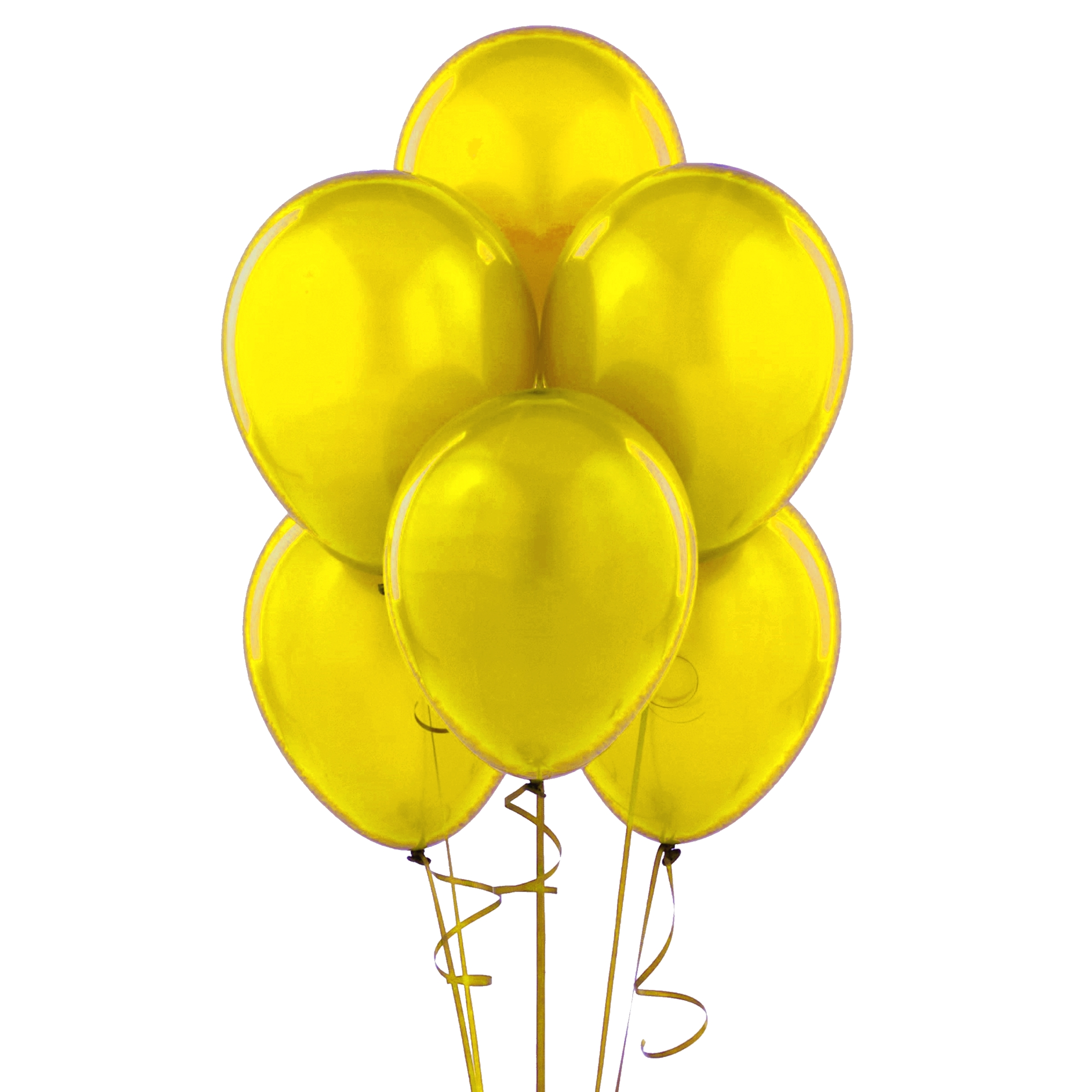 """72 Latex Balloons 12"""" with Clips and Curling Ribbon - Yellow"""