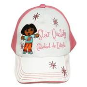 Dora the Explorer Star Quality Pink and White Velcro Adjustable Kids Cap