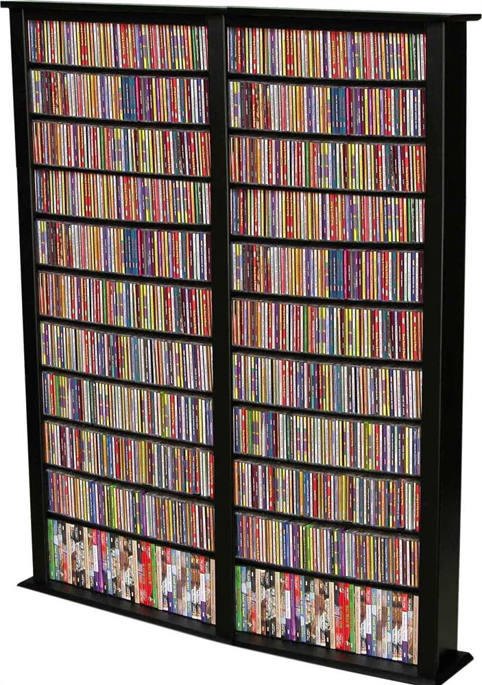 "Venture Horizon Double 76"" Tall CD DVD Wall Media Storage Rack-Cherry by Venture Horizon"