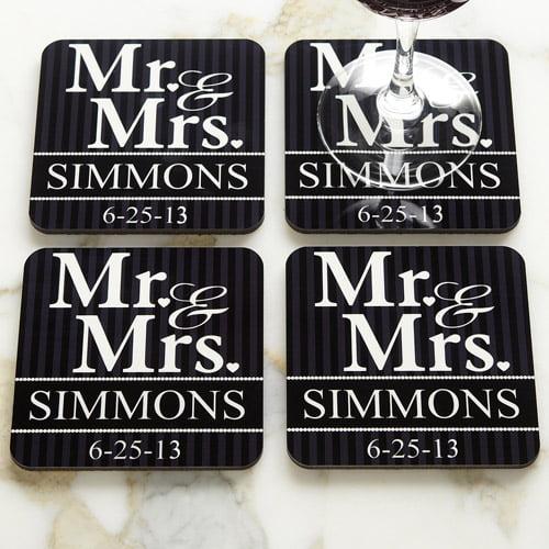 Personalized Wedding Coasters, Set of 4