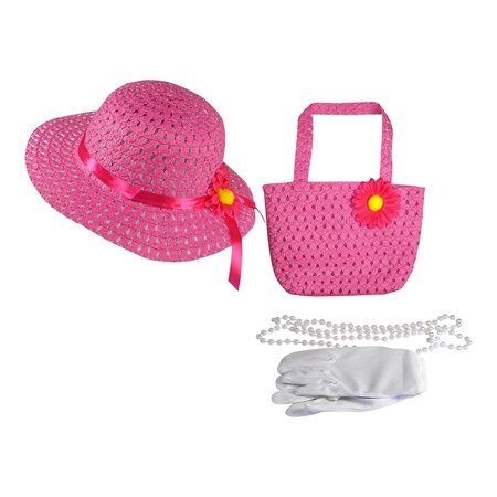 Girls Tea Party Dress Up Play Set With Sun Hat, Purse, White Gloves, and Plastic Pearl Necklace - Fuschia (Girls Tea Party)
