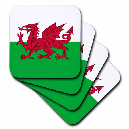 3dRose Flag of Wales - Welsh red dragon on white and green - Y Ddraig Goch UK United Kingdom Great Britain, Soft Coasters, set of 8