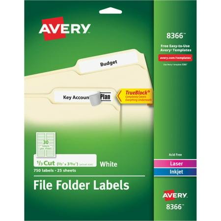 Avery Permanent File Folder Labels  Trueblock  Inkjet Laser  White  750 Pack