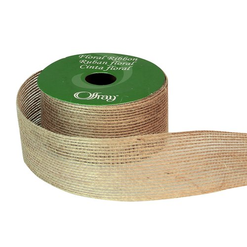 Offray Natural Lined Burlap Ribbon, Floral