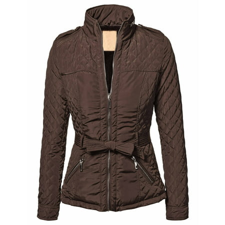 WJC787 Womens Quilted Faux Fur Trimmed Belted Shoulder Knot Plated Jacket S - Fur Coat Halloween