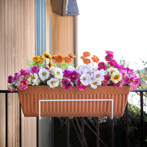 Sun Joe Flower Box Holder, White