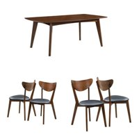 5 Piece Mid Century Modern Dining Table and 4-Chair Set in Dark Walnut