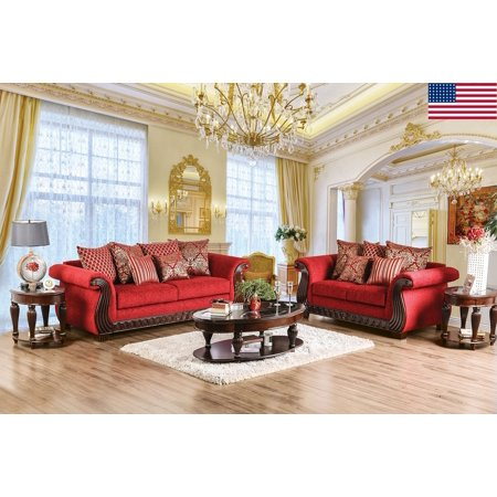 Traditional Formal Living Room Furniture 2pc Sofa Set Ruby Red Sofa ...