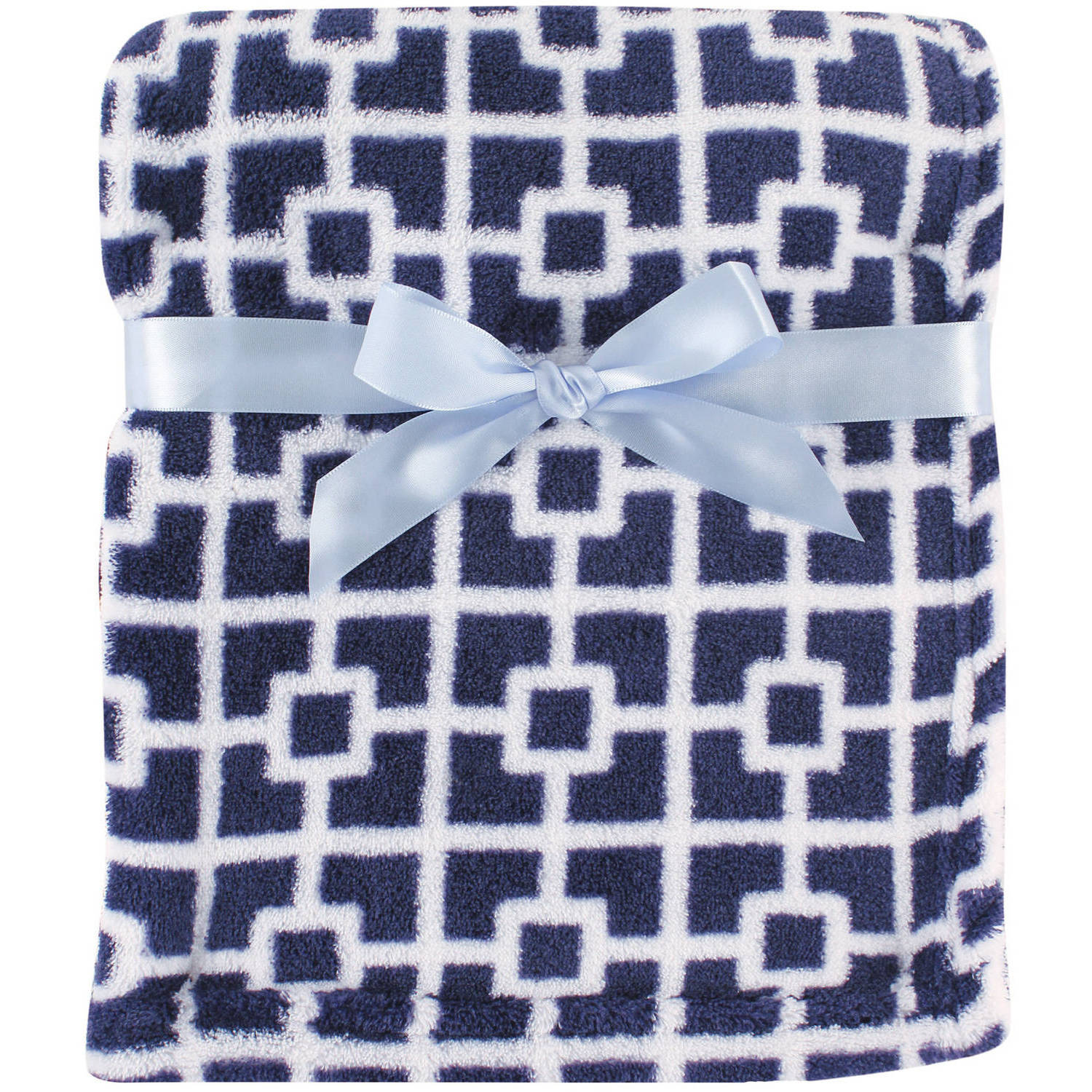 Luvable Friends Coral Fleece Blanket, Navy Trellis