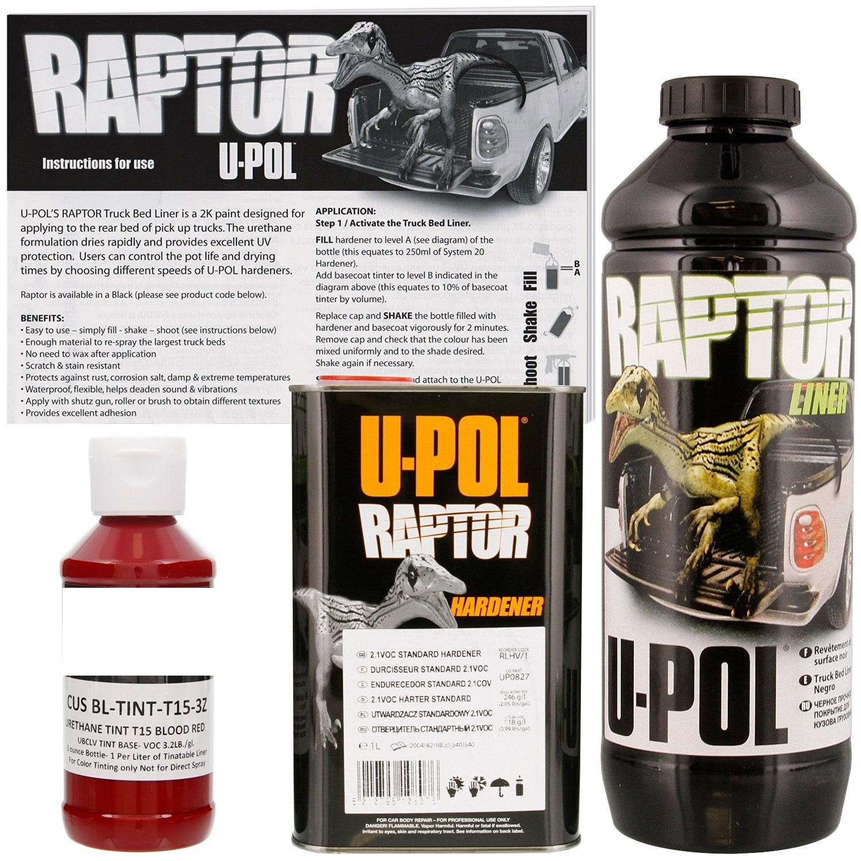 U-POL Raptor Tintable Blood Red Bed Liner & Texture 1 Liter Upol