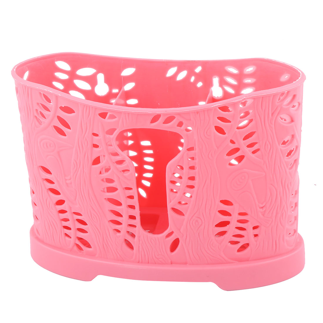 3 Compartment Cutlery Storage Spoon Fork Chopsticks Holder Container Hot Pink