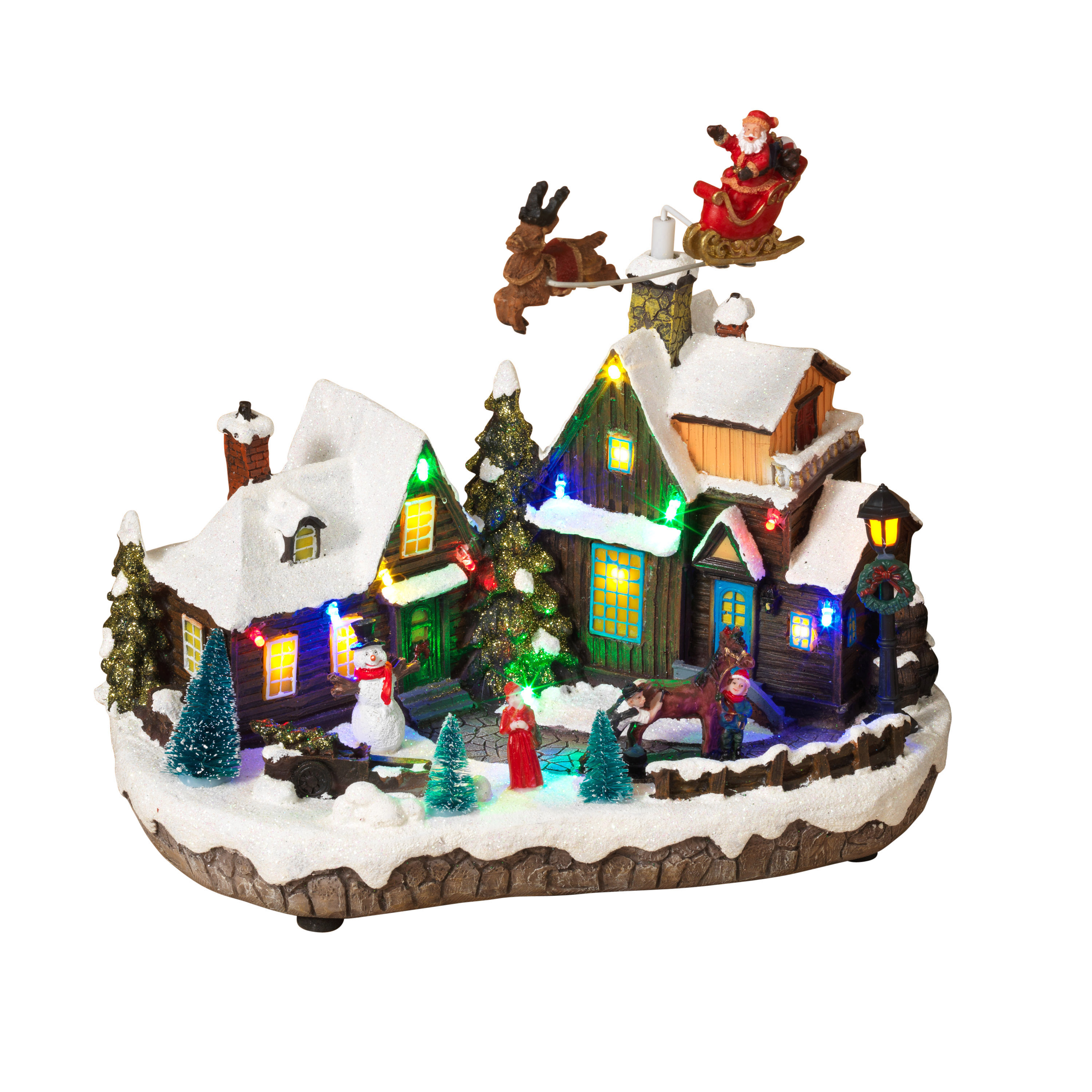 The Gerson Companies Lighted Holiday Village Scene with Seasonal Accents and Moving Figurines