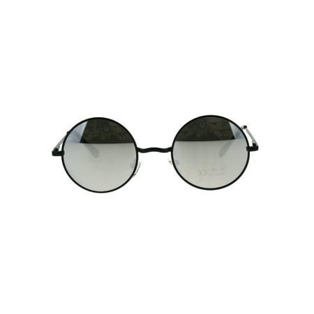 808a9e0dc5f4 SA106 - Mens Mirror Lens Classic Round Circle Lens Hippie 70s Metal Rim  Sunglasses Black Silver Black - Walmart.com