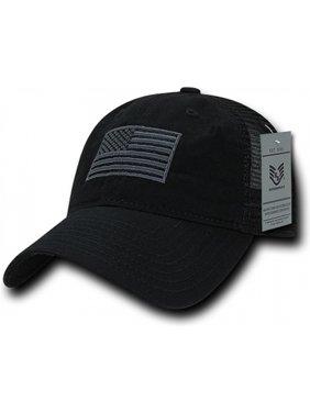 RapDom Tonal USA Flag Polo Mens Mesh Back Cap [Black - Adjustable]