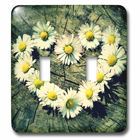 3dRose Daisy Flower Design Heart of Love - Double Toggle Switch (Daisy Love)