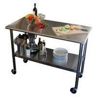 TRINITY EcoStorage 48-in. NSF Stainless Steel Prep Table with Wheels
