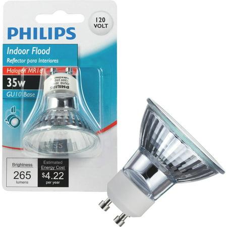 Philips Lighting 415737 MR16 Reflector Halogen Lamp 35 Watt GU10 Base 265 Lumens 100 CRI 2800K Clear