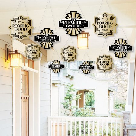 Halloween Yard Art (Hanging Roaring 20's - Outdoor 1920s Art Deco Jazz Party Hanging Porch and Tree Yard Decorations - 10)