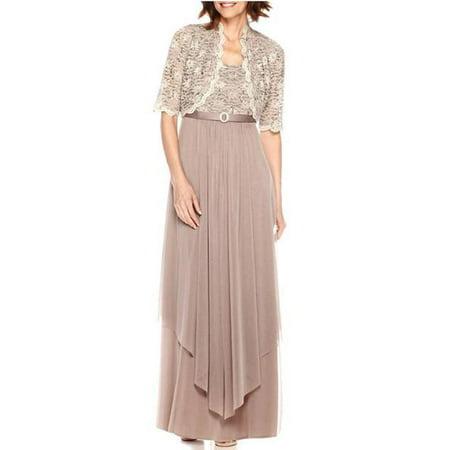 R&M Richards Women's Sequin Lace Long Jacket Dress - Mother of the Bride Dress