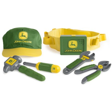 John Deere Deluxe Talking Toolbelt | Perfect for Toddler Fixer Uppers | 6  Toy Tools and Belt with Talking Buckle | Creative DIY Fun for Kids