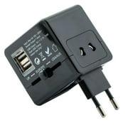 iSunnao International World Travel Power Adapter With Dual 2.1A USB Plug AC Charger Apple iPad, iPhone, iPod, Samsung Galaxy, HTC One, Smartphones & 5V Tablets