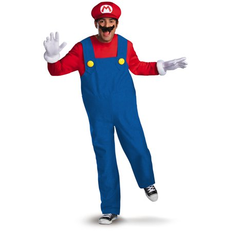 Mario Deluxe Men's Adult Halloween Costume (Halloween Costumes Mario Luigi Princess Peach)