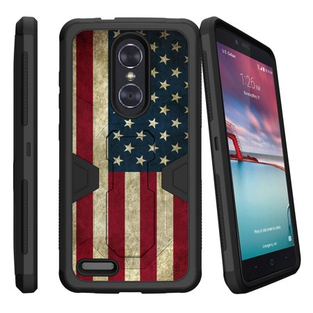 ZTE Zmax Pro Z981 Dual Layer Shock Resistant MAX DEFENSE Heavy Duty Case with Built In Kickstand - American Flag USA ()